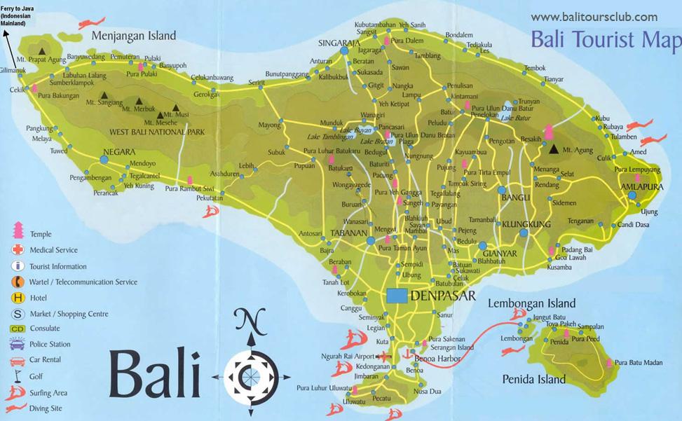 Peta Objek wisata Bali